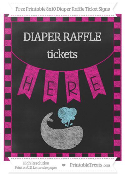 Free Magenta Checker Pattern Chalk Style Whale 8x10 Diaper Raffle Ticket Sign