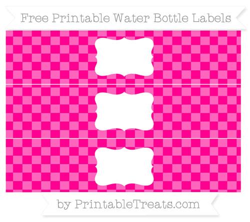 Free Magenta Checker Pattern Water Bottle Labels