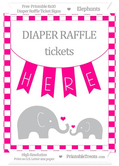 Free Magenta Checker Pattern Elephant 8x10 Diaper Raffle Ticket Sign