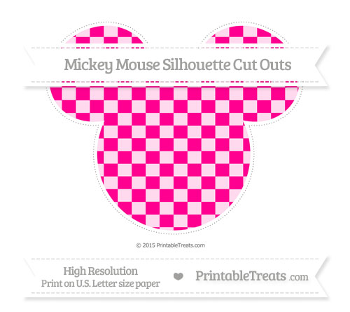 Free Magenta Checker Pattern Extra Large Mickey Mouse Silhouette Cut Outs