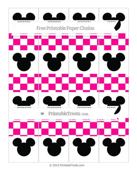 Free Magenta Checker Pattern Mickey Mouse Paper Chains