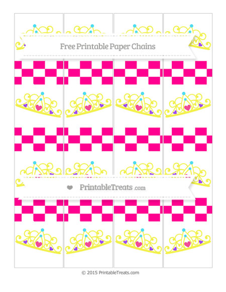 Free Magenta Checker Pattern Princess Tiara Paper Chains