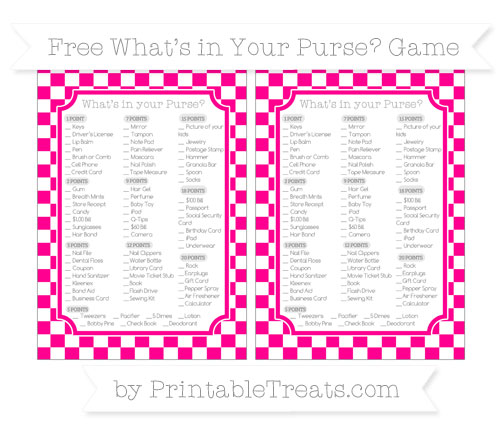 Free Magenta Checker Pattern What's in Your Purse Baby Shower Game
