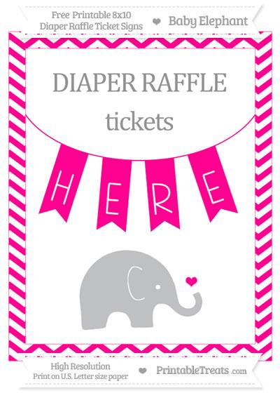 Free Magenta Chevron Baby Elephant 8x10 Diaper Raffle Ticket Sign