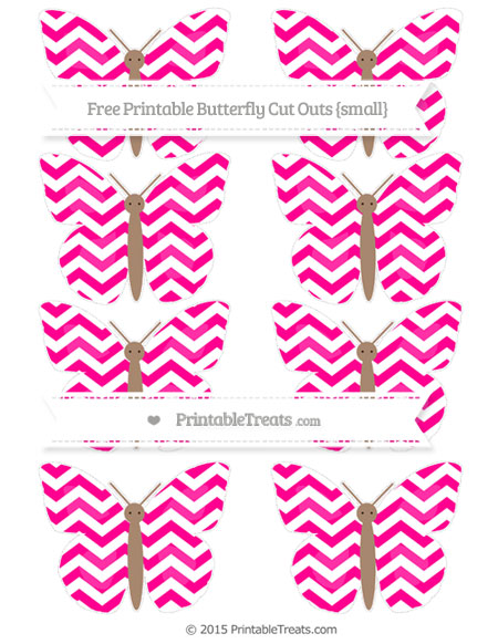 Free Magenta Chevron Small Butterfly Cut Outs