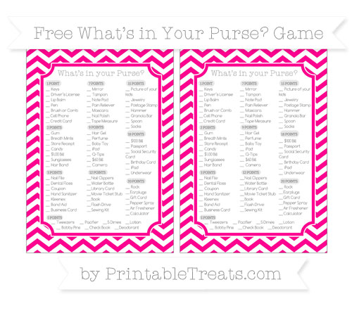 Free Magenta Chevron What's in Your Purse Baby Shower Game
