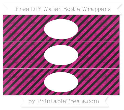 Free Magenta Diagonal Striped Chalk Style DIY Water Bottle Wrappers