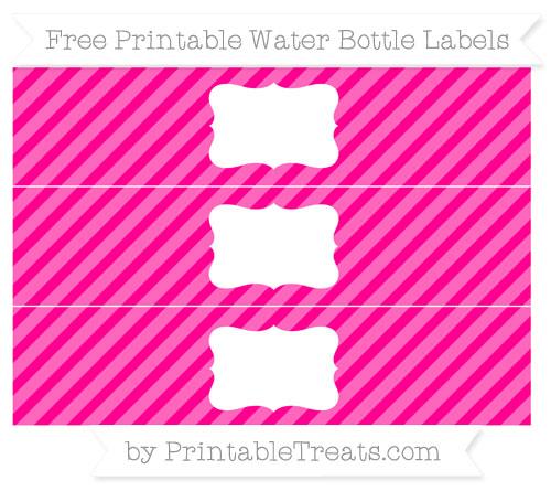 Free Magenta Diagonal Striped Water Bottle Labels