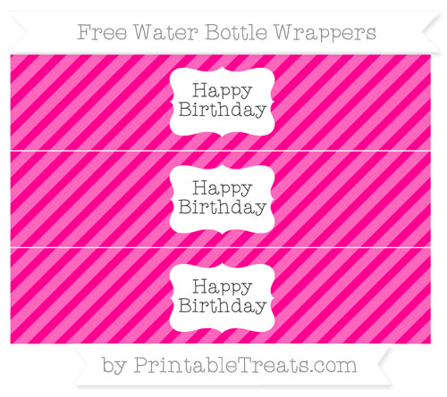 Free Magenta Diagonal Striped Happy Birhtday Water Bottle Wrappers