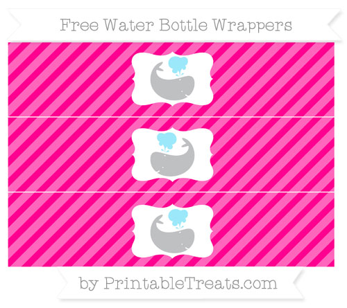 Free Magenta Diagonal Striped Whale Water Bottle Wrappers