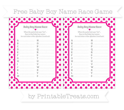 Free Magenta Dotted Pattern Baby Boy Name Race Game