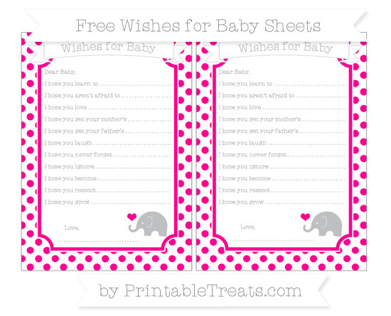 Free Magenta Dotted Pattern Baby Elephant Wishes for Baby Sheets