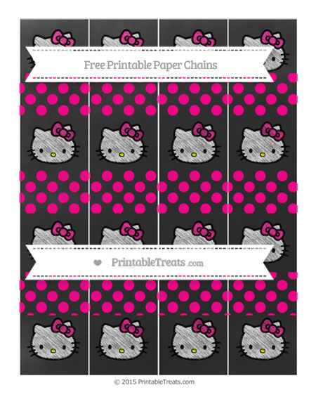 Free Magenta Dotted Pattern Chalk Style Hello Kitty Paper Chains
