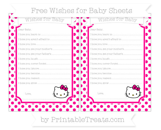 Free Magenta Dotted Pattern Hello Kitty Wishes for Baby Sheets