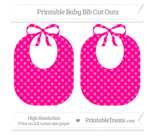 Free Magenta Dotted Pattern Large Baby Bib Cut Outs