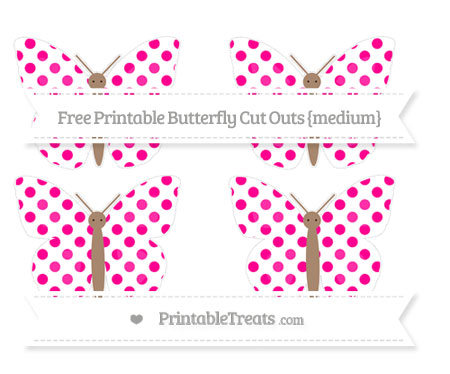 Free Magenta Dotted Pattern Medium Butterfly Cut Outs