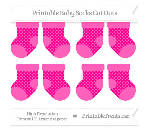 Free Magenta Dotted Pattern Small Baby Socks Cut Outs