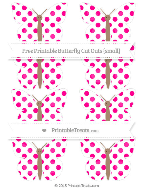 Free Magenta Dotted Pattern Small Butterfly Cut Outs