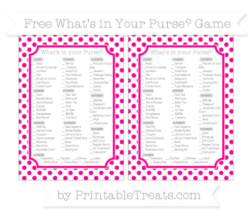 Free Magenta Dotted Pattern What's in Your Purse Baby Shower Game