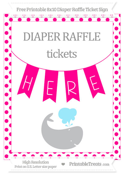 Free Magenta Dotted Whale 8x10 Diaper Raffle Ticket Sign