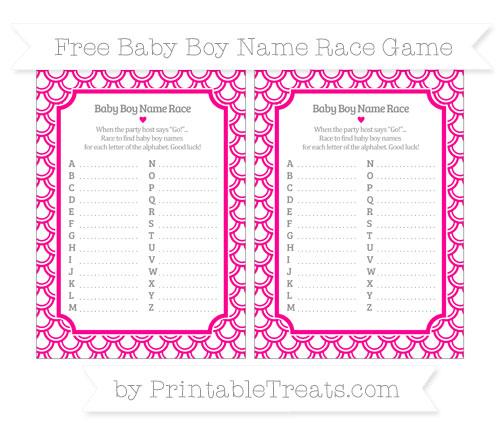 Free Magenta Fish Scale Pattern Baby Boy Name Race Game