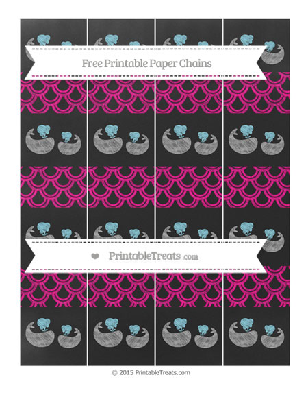 Free Magenta Fish Scale Pattern Chalk Style Baby Whale Paper Chains