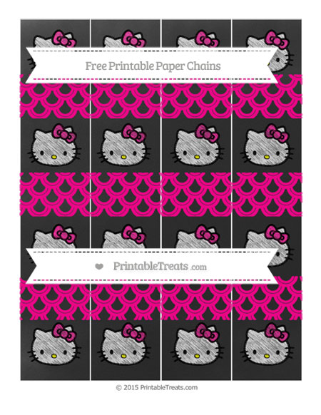Free Magenta Fish Scale Pattern Chalk Style Hello Kitty Paper Chains