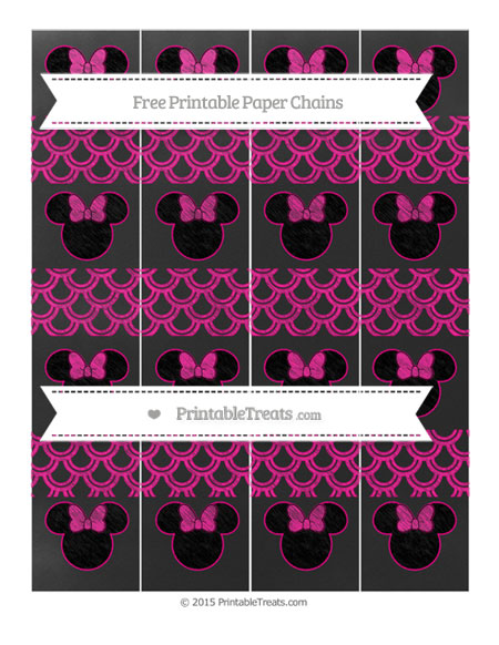 Free Magenta Fish Scale Pattern Chalk Style Minnie Mouse Paper Chains