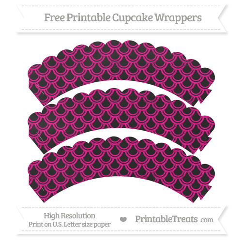 Free Magenta Fish Scale Pattern Chalk Style Scalloped Cupcake Wrappers
