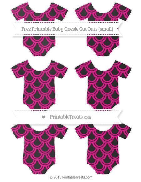 Free Magenta Fish Scale Pattern Chalk Style Small Baby Onesie Cut Outs