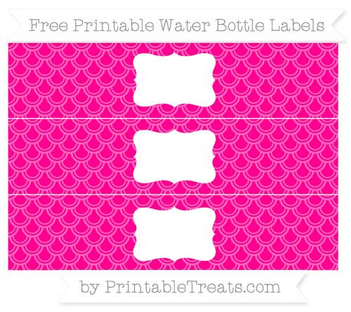Free Magenta Fish Scale Pattern Water Bottle Labels