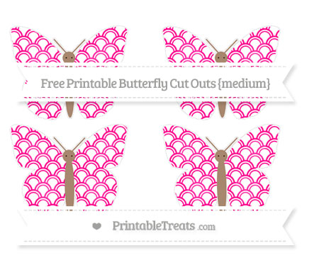 Free Magenta Fish Scale Pattern Medium Butterfly Cut Outs