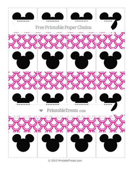Free Magenta Fish Scale Pattern Mickey Mouse Paper Chains