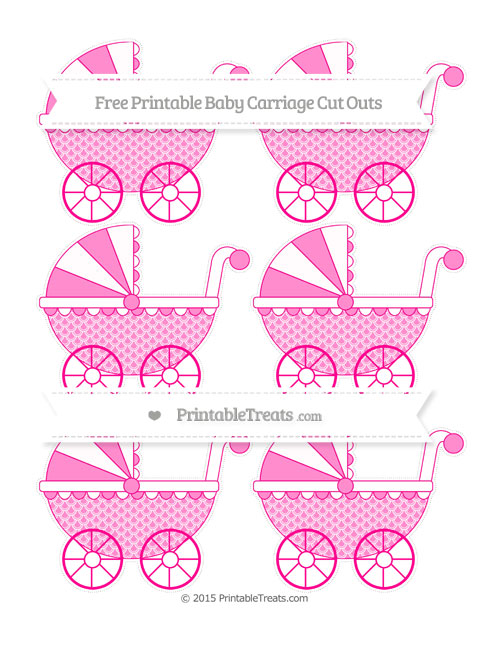 Free Magenta Fish Scale Pattern Small Baby Carriage Cut Outs