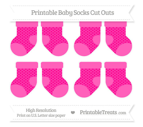 Free Magenta Fish Scale Pattern Small Baby Socks Cut Outs