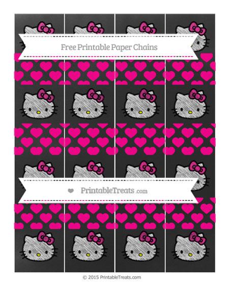 Free Magenta Heart Pattern Chalk Style Hello Kitty Paper Chains
