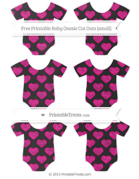 Free Magenta Heart Pattern Chalk Style Small Baby Onesie Cut Outs