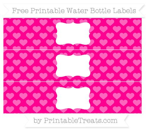 Free Magenta Heart Pattern Water Bottle Labels