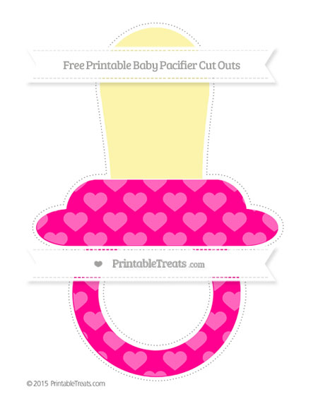 Free Magenta Heart Pattern Extra Large Baby Pacifier Cut Outs