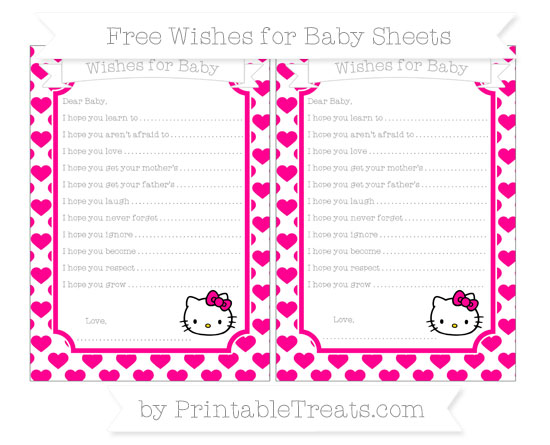 Free Magenta Heart Pattern Hello Kitty Wishes for Baby Sheets