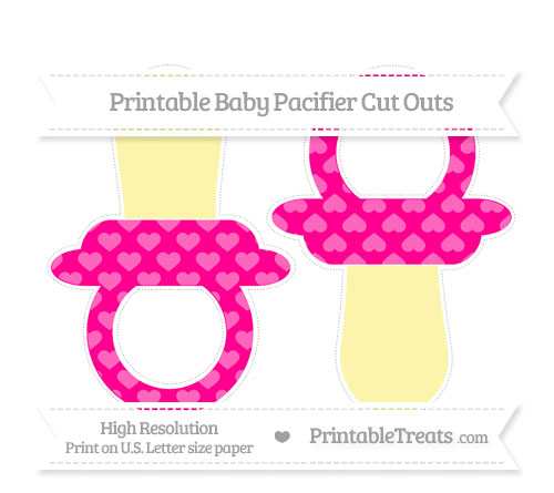 Free Magenta Heart Pattern Large Baby Pacifier Cut Outs
