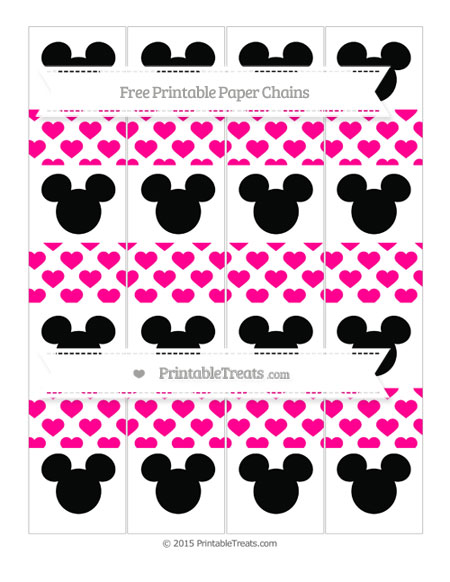Free Magenta Heart Pattern Mickey Mouse Paper Chains