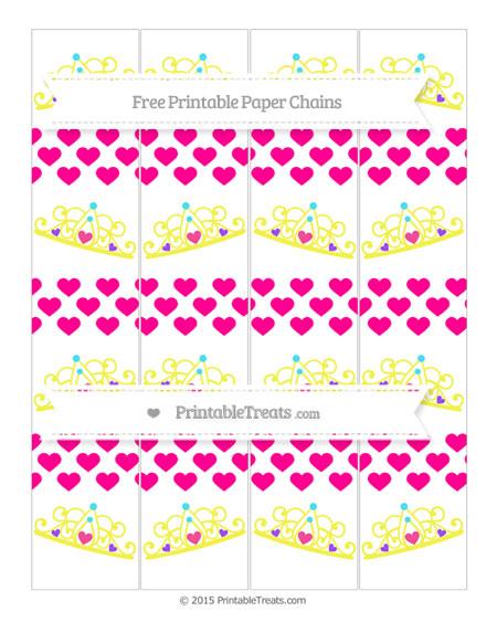 Free Magenta Heart Pattern Princess Tiara Paper Chains