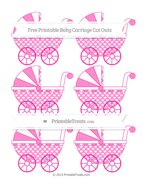 Free Magenta Heart Pattern Small Baby Carriage Cut Outs