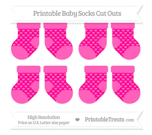 Free Magenta Heart Pattern Small Baby Socks Cut Outs