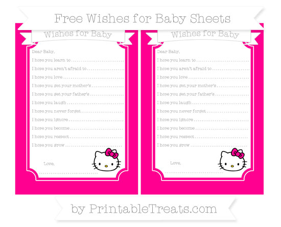 Free Magenta Hello Kitty Wishes for Baby Sheets