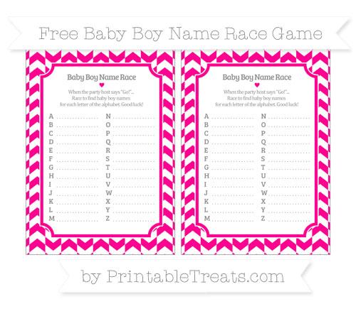 Free Magenta Herringbone Pattern Baby Boy Name Race Game