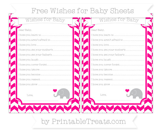 Free Magenta Herringbone Pattern Baby Elephant Wishes for Baby Sheets
