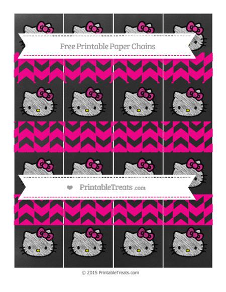 Free Magenta Herringbone Pattern Chalk Style Hello Kitty Paper Chains