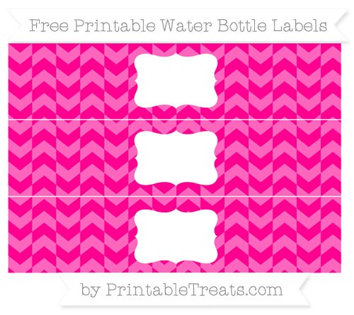 Free Magenta Herringbone Pattern Water Bottle Labels